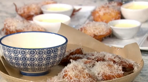 Pritesh Mody deep fried spaghetti fritters on Sunday Brunch