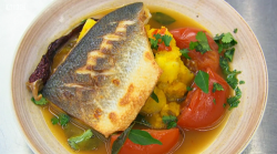 Greg Rutherford's pan fried sea bass with turmeric potatoes cooked using Yotam Ottolenghi  ...