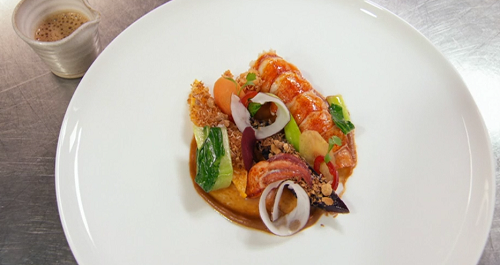 Monica Galetti's lemongrass poached lobster tail with peanut sauce cooked by Vicky Pattiso ...