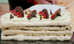 Henry's towering meringue cake on The Great British Bake Off