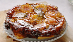 Jamie Oliver's sticky onion tart with cider vinegar and green salad on Jamie's Meat- ...