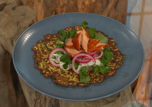 Donna Hay Courgette crispy pancake with tzatziki pickled onions and smoked salmon on Saturday Ki ...