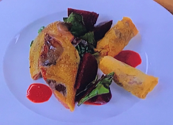 Angela Hartnett's roasted pigeon with pickled beetroot and cabbage on My Favourite Dishes