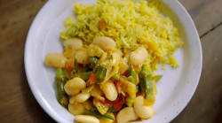 Jamie Oliver's Jamaican pumpkin rice with butter bean stew and scotch bonnet pepper on Jam ...