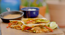 Pulled chicken quesadillas on the Hairy bikers  Route 66