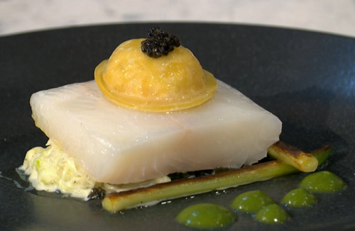 Pritesh Mody halibut with lobster and scallop ravioli  on Sunday Brunch