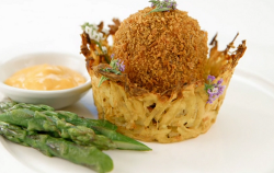 Greg Rutherford's chorizo scotch egg in a curry potato rosti nest with asparagus and mayo  ...