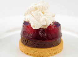 Greg Rutherford's shortbread biscuit with dark chocolate crema, raspberry jelly and Chanti ...