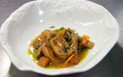 Monica Galetti pumpkin and mascarpone agnolotti pasta with wild mushrooms and marmite starter co ...