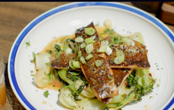 Hairy Bikers honey glazed trout with soy sauce, bok choi and black sesame seeds on Route 66
