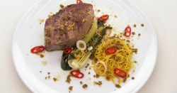 Neil Ruddock's Asian style tuna with ginger, chilli noodles and a salty crumb on Celebrity ...