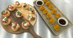 Vicky Pattison mini Yorkshire pudding with beef and prawn with pork dumplings canapes on Celebri ...