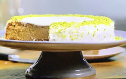 Walnut and orange cake with a sour cream butter icing on Tom Kerridge's America