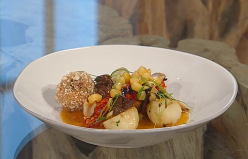 Ellis Barrie's lobster with pork and  chanterelle mushrooms on Saturday Kitchen
