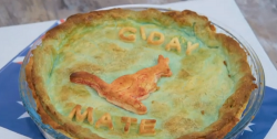 Vaughan's Aussie meat pie on Junior Bake Off 2019