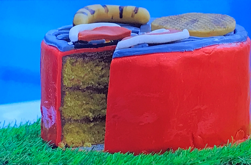Fin's dad's magic BBQ cake on Junior Bake Off