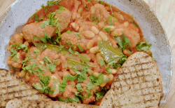 Masha Rener's  sausages with cannellini beans on Nadia's Family Feasts