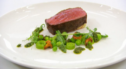 James roast beef with girolles and bone marrow potato puree main course on Masterchef The Profes ...
