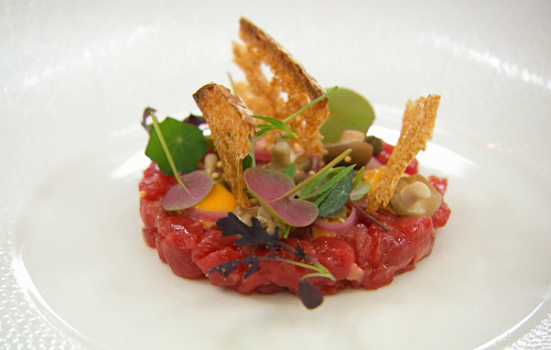 Olivia's beef tartare with a raw egg on MasterChef The Professionals