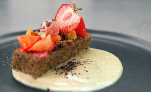 Kat's black carrot almond cake on Masterchef The Professionals