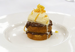 Monty's brown butter sponge with chocolate cremeux with orange ice cream on Masterchef The ...