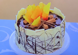 Tom W's campfire chilli chocolate cake on Junior Bake Off 2019