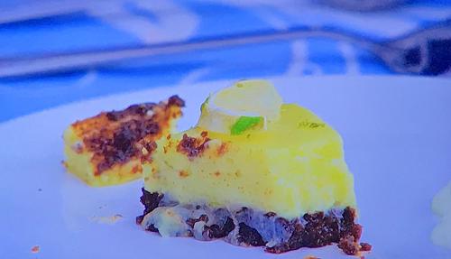 Vaughan's brownie key line pie dessert on Junior Bake Off 2019