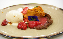 Steve's macerated strawberries with chocolate mousse, stracciatella cheese ice cream and h ...