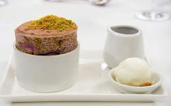 Exose's cherry souffle with pistachio crumble, sheep's milk yoghurt sorbet and a sou ...
