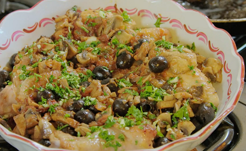 Aline Renoir's chicken satay with mushrooms, olives and Cognac on Rick Stein's Secret France