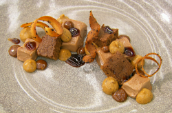 Sam's milk chocolate mousse with salted caramel and a chocolate and hazelnut sponge on Mas ...