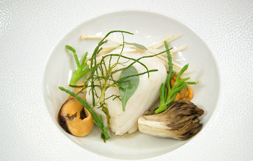Malin's steamed cod lion with sea vegetables and a spiced seafood broth on Masterchef The  ...