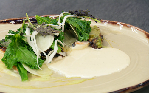 Tom's poached cod loin wrapped in cabbage with mussels and a bacon and cream sauce on Mast ...