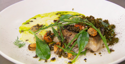 Yaz's pan fried coley with dill oil and leek veloute on Masterchef The Professionals