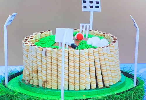 Jaya's spicy Chocolate cricket cake on Junior Bake Off 2019