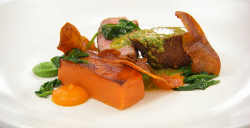 Exose's spiced duck breast with sweet potato fondant, spinach and chimichurri on Masterche ...