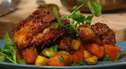 Marcus Samuelsson's fried chicken with pumpkin and Brussels sprouts on Saturday Kitchen
