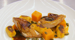 Exose's roasted guinea fowl with butternut  gnocchi on MasterChef The Professionals 2019