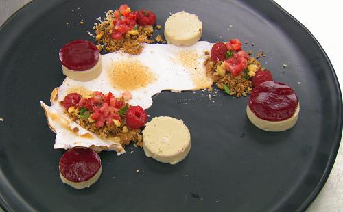 Ben's Jerusalem artichoke with  Italian meringue and berries dessert  on Mastercgef The Pr ...