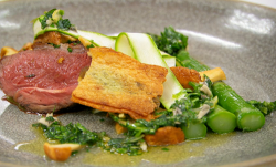 Steve's lamb rump with asparagus, mushrooms and salsa Verde on Masterchef The Professional ...