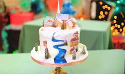 Leann's  Lapland snowscape village cake on Kirstie's Handmade Christmas
