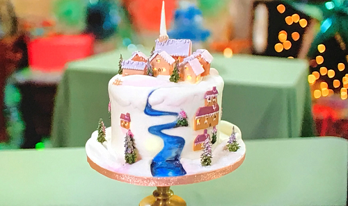 Leann's  Lapland snowscape village cake on Kirstie's Handmade Christmas