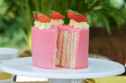 Liam's vertical layer cake with buttercream and fresh strawberries on Junior Bake Off 2019