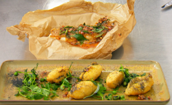 Kristina's lemon sole with a hazelnut crust, pea shoots salad with vinegar powder and bass ...