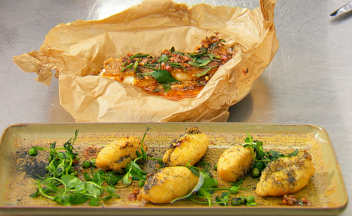 Kristina's lemon sole with a hazelnut crust, pea shoots salad with vinegar powder and bass ...
