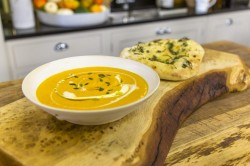 James Martin Roasted Pumpkin Soup with Seeded Flatbread on James Martin's Saturday Morning