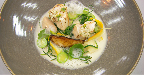 Olivia's monkfish with courgette, elderflower and a mussels sauce on MasterChef The Professionals