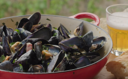 Rick Stein's mussels with creme fraiche and eggs and cider on Rick Stein's Secret France