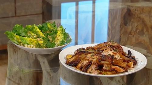 Alison Roman One-pot chicken with caramelised lemon, dates and a littel gem salad on Saturday Ki ...