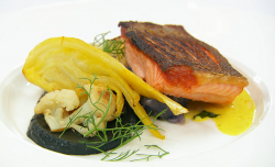Arbinder's sea trout with potatoes, fennel, cauliflower, and a coconut and ginger curry sa ...